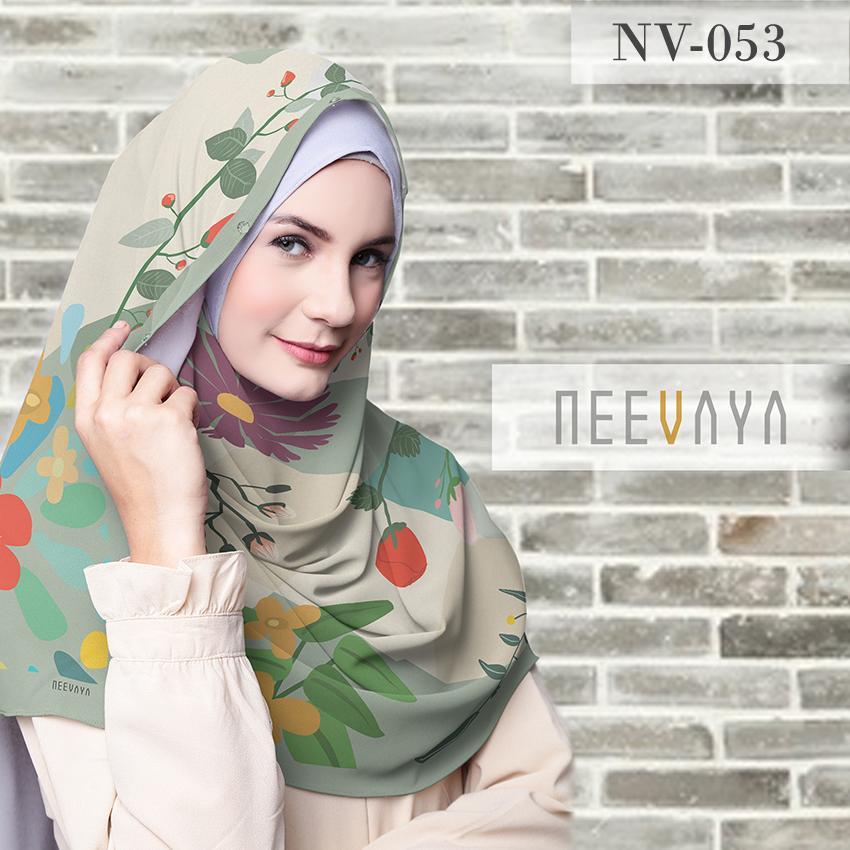 Hijab Jilbab Scarf Segi Empat Printed Voal Divine Premium Neevaya NV-53 .