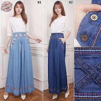 Cj Collection Rok maxi jeans panjang wanita jumbo long skirt Atika