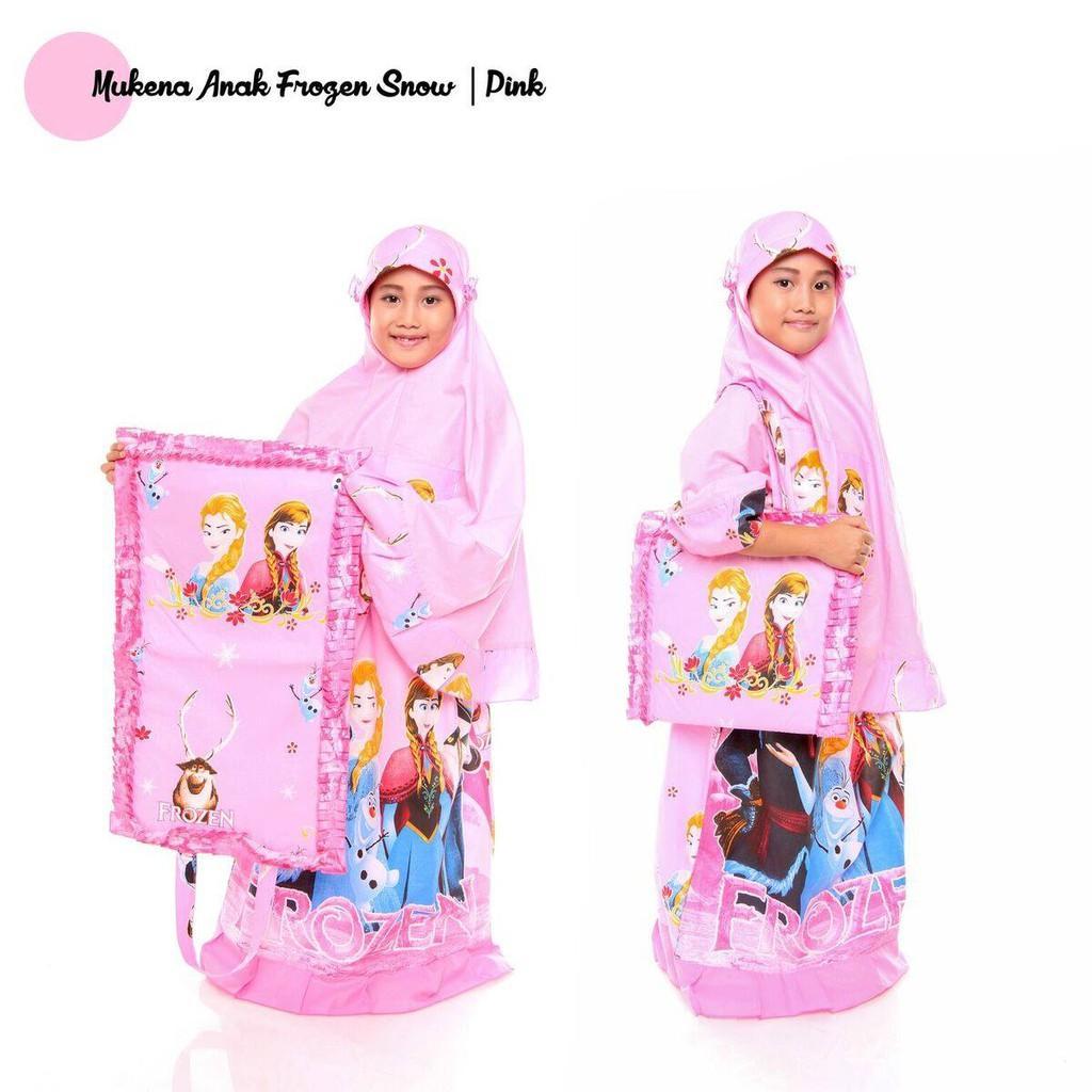 Mukena Anak Katun Frozen Snow Pink