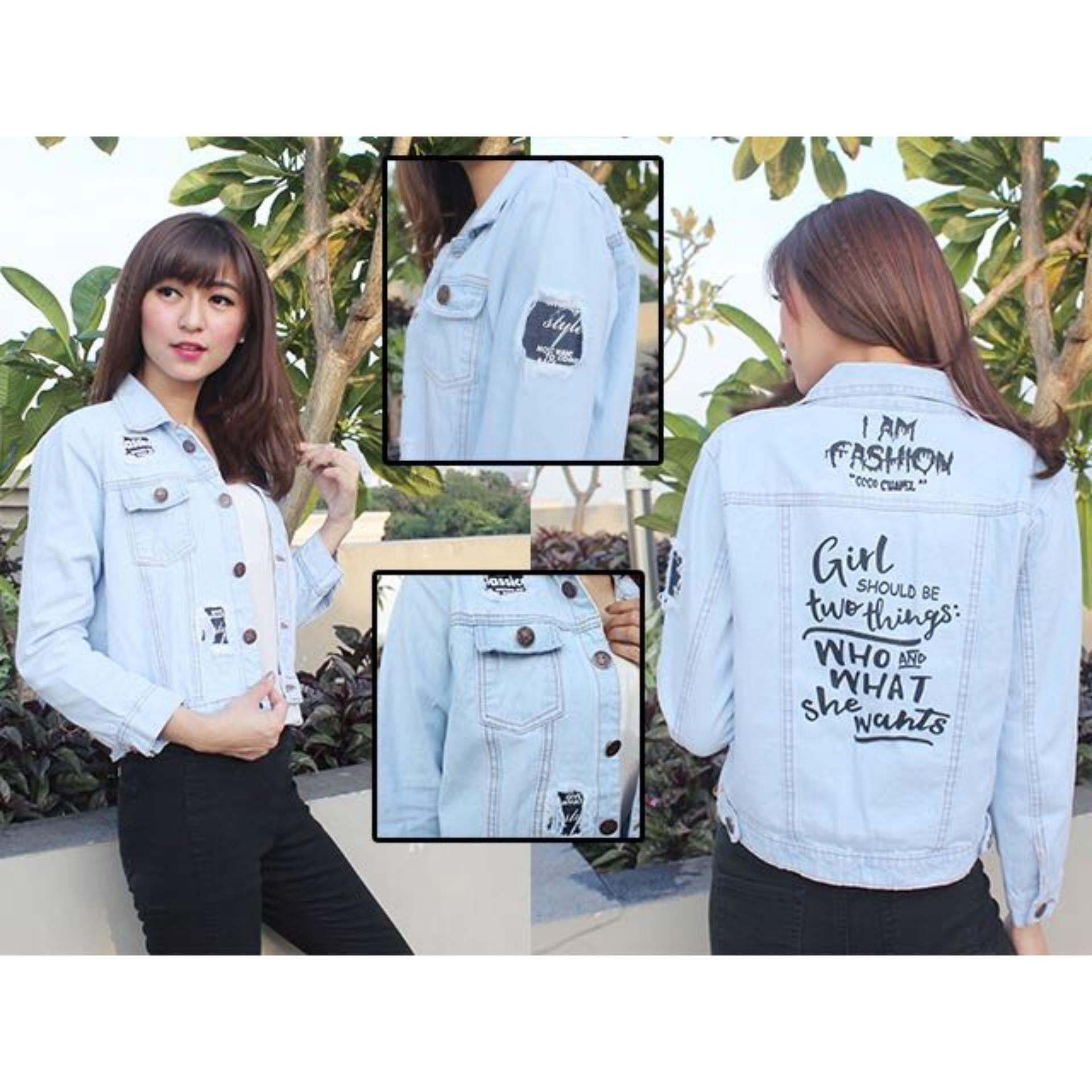 Beli Vrichel Collection Jaket Jeans Jaket Blazer Jeans Jaket Jeans Wanita Easy The Virgin Real Pict Online Terpercaya