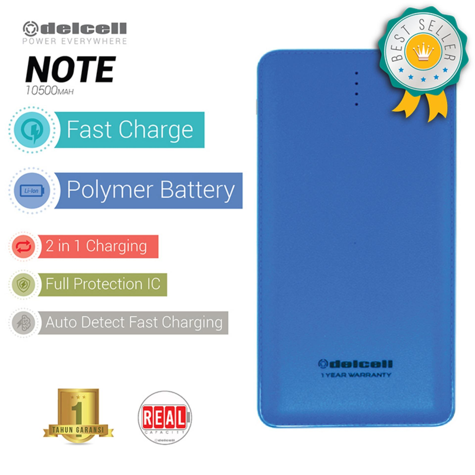 Delcell NOTE Powerbank 10500mAh Real Capacity Fast Charging Polymer Battery - Biru