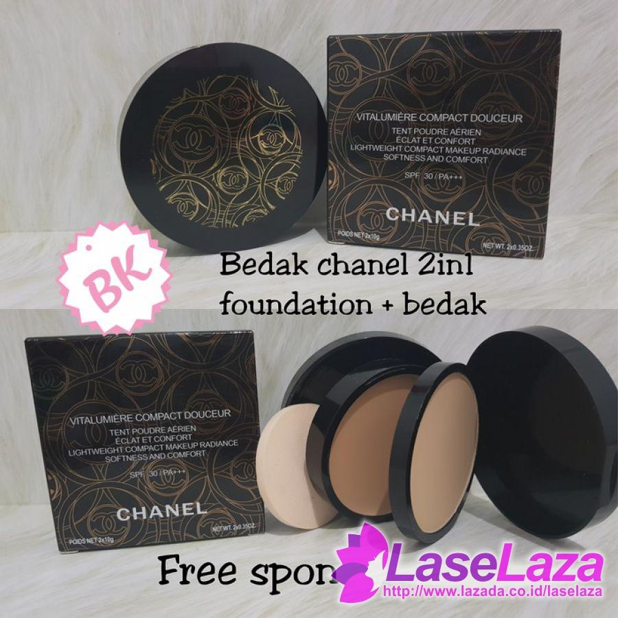 ( New ) Bedak Canel 2in1 Foundation + Powder 2 In 1 Bedak Wajah Terlaris