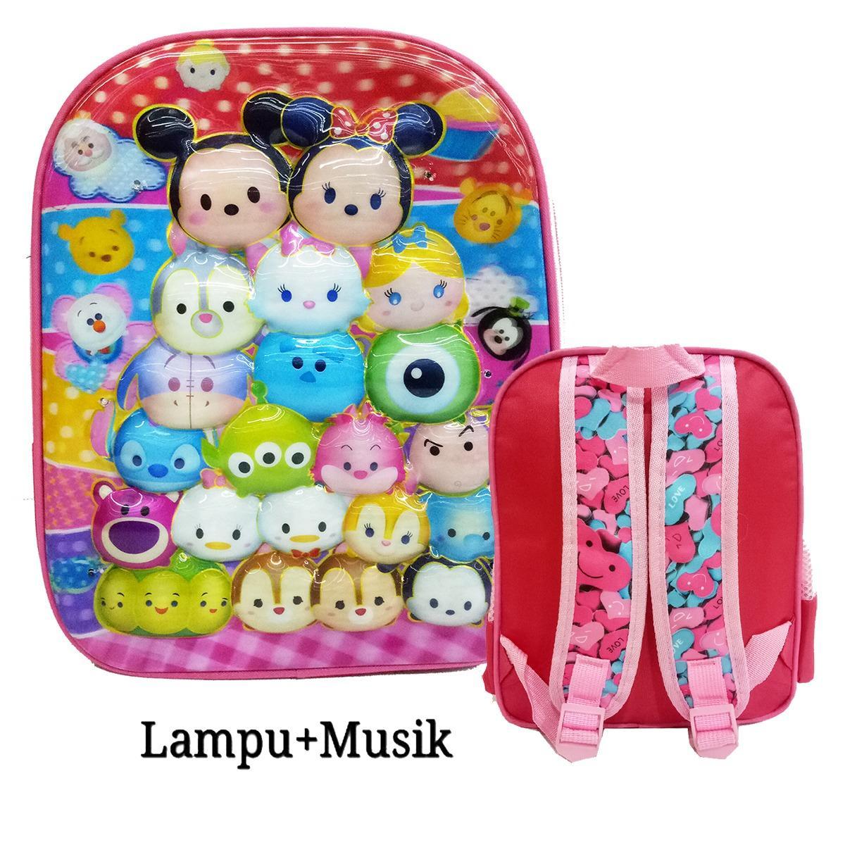Promo Onlan Tas Anak Sekolah Tk Model Lampu Music 2 Kantung Karakter Anak Perempuan 5D Import Pink Di Dki Jakarta