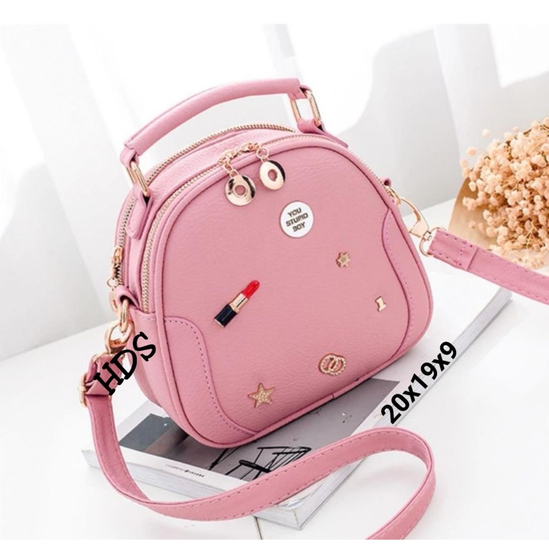 Sling Bag Korean Style Lipstick Flakes Ovale / Tas Selempang Wanita Korean Style - Pink