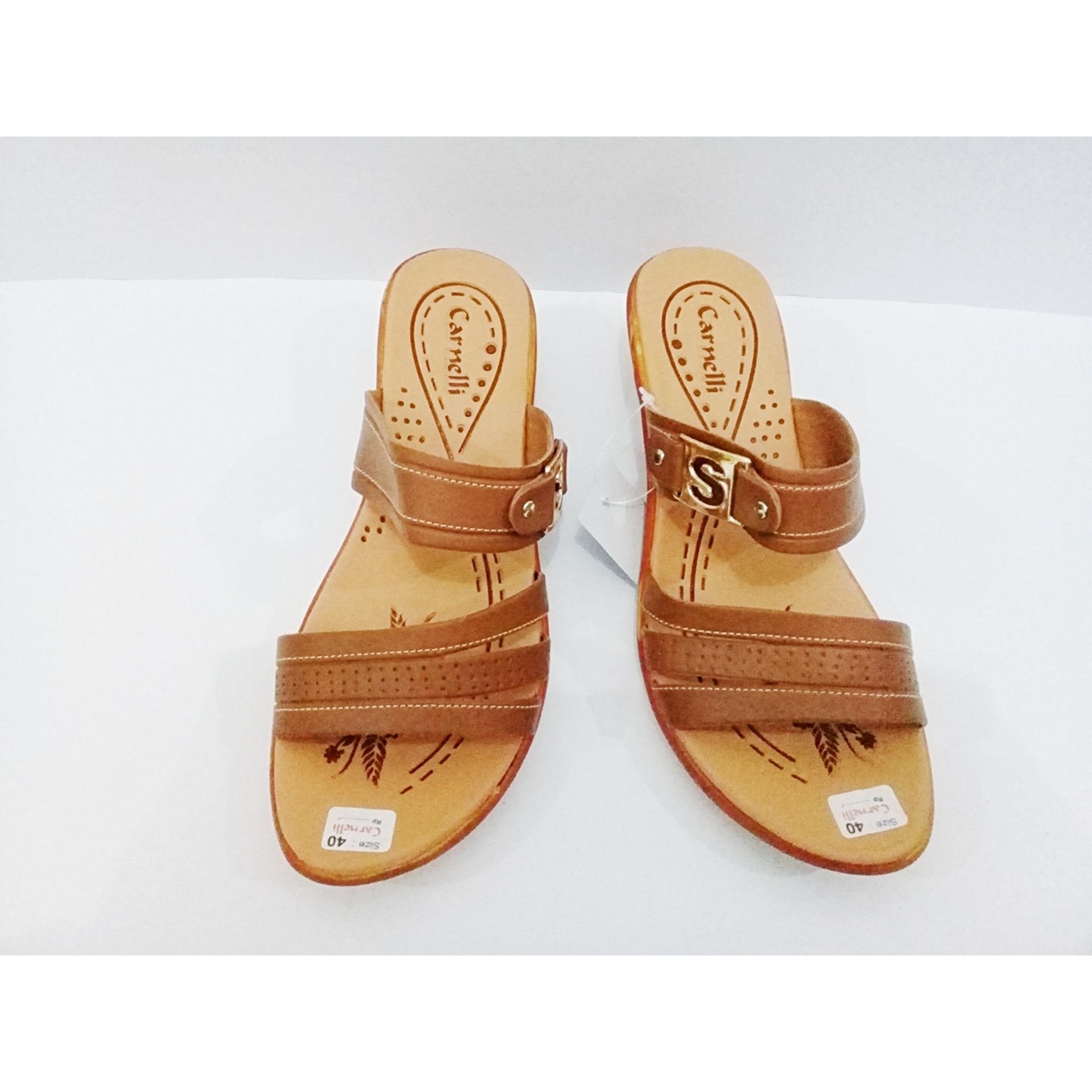 Green Store-Sandal Slop Wanita Trendy Tali Coklat _Coklat