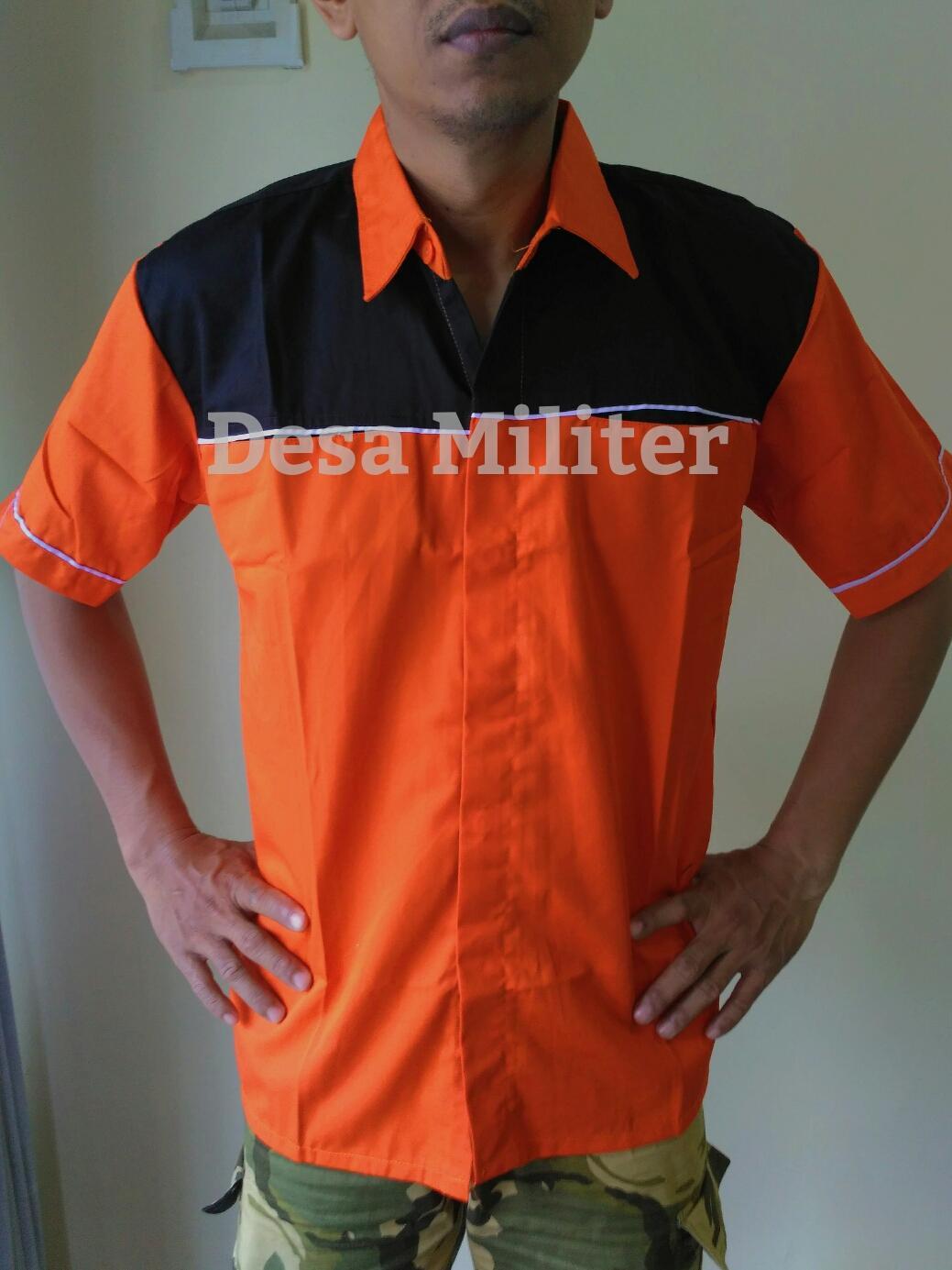 Seragam Kerja Crew - Kemeja Kombinasi Orange - Seragam Kerja Bengkel - Seragam OB - Office