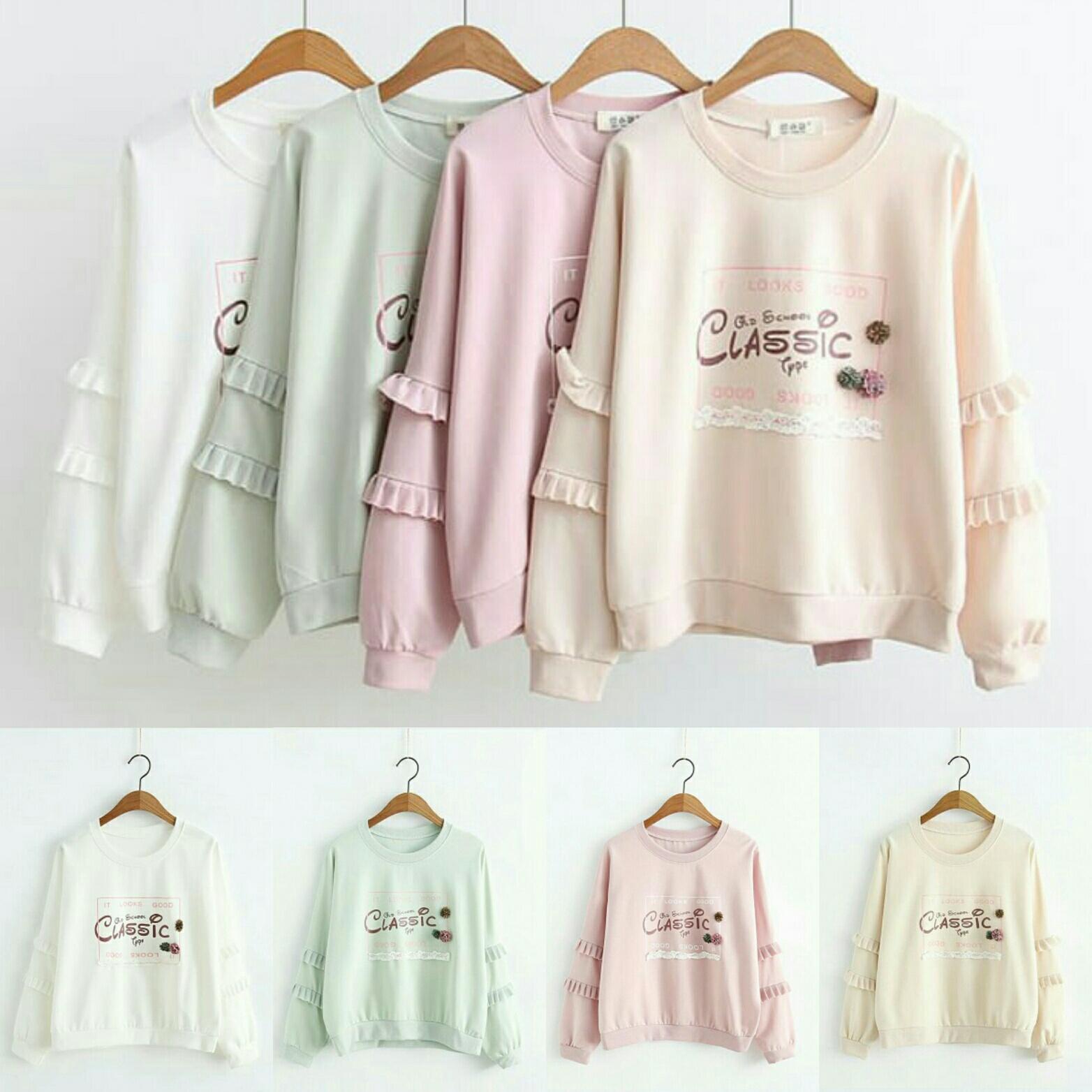 Fitur The Most Sweater Maroon Navy Hitam Harajuku Hangat Basic Oblong Polos Jc Classic Panjang Kaos Wanita Trendy