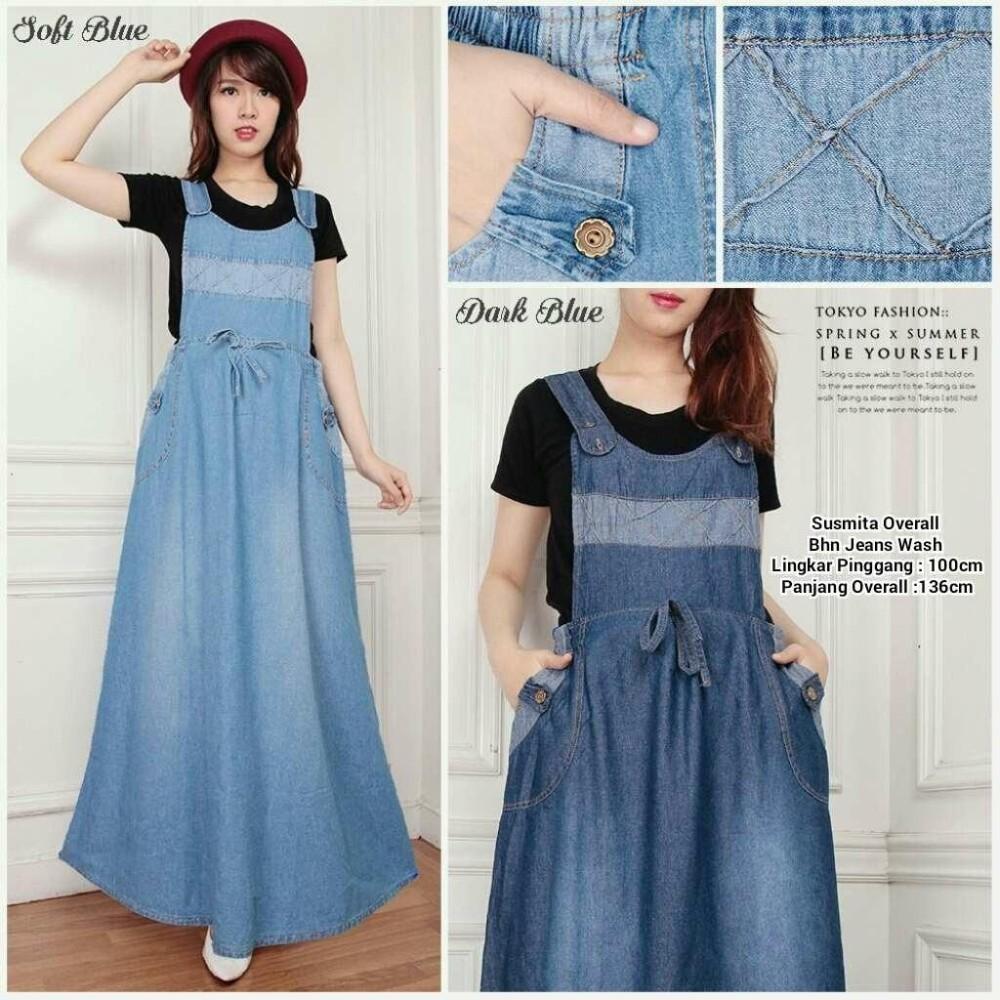 Miracle Dress Maxi Aleya  Gamis Overall Jeans Wanita