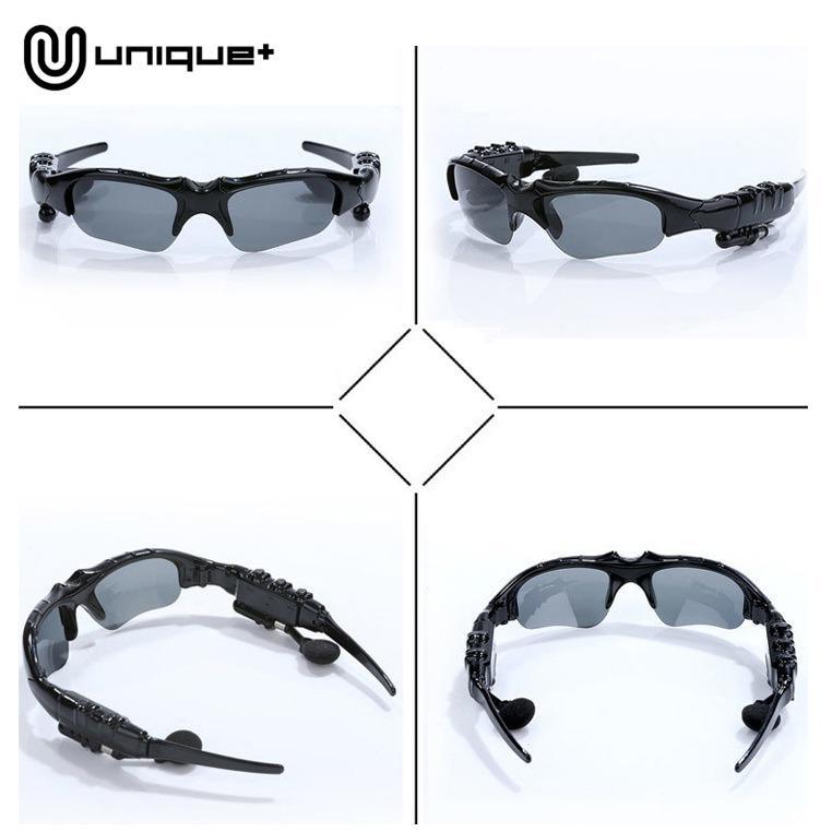 ... Unique Stereo Wireless Bluetooth Headset Earphone Sunglasses Kacamata MP3 - Hitam - 5