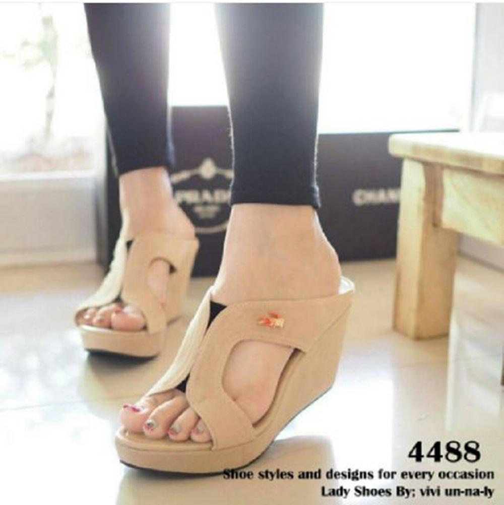 Sandal Wedges Wanita Alice Cream Murah Review Daftar Harga Terbaru Sonne Sc5006 Brown Premium Lady Comfort Leather Shoes