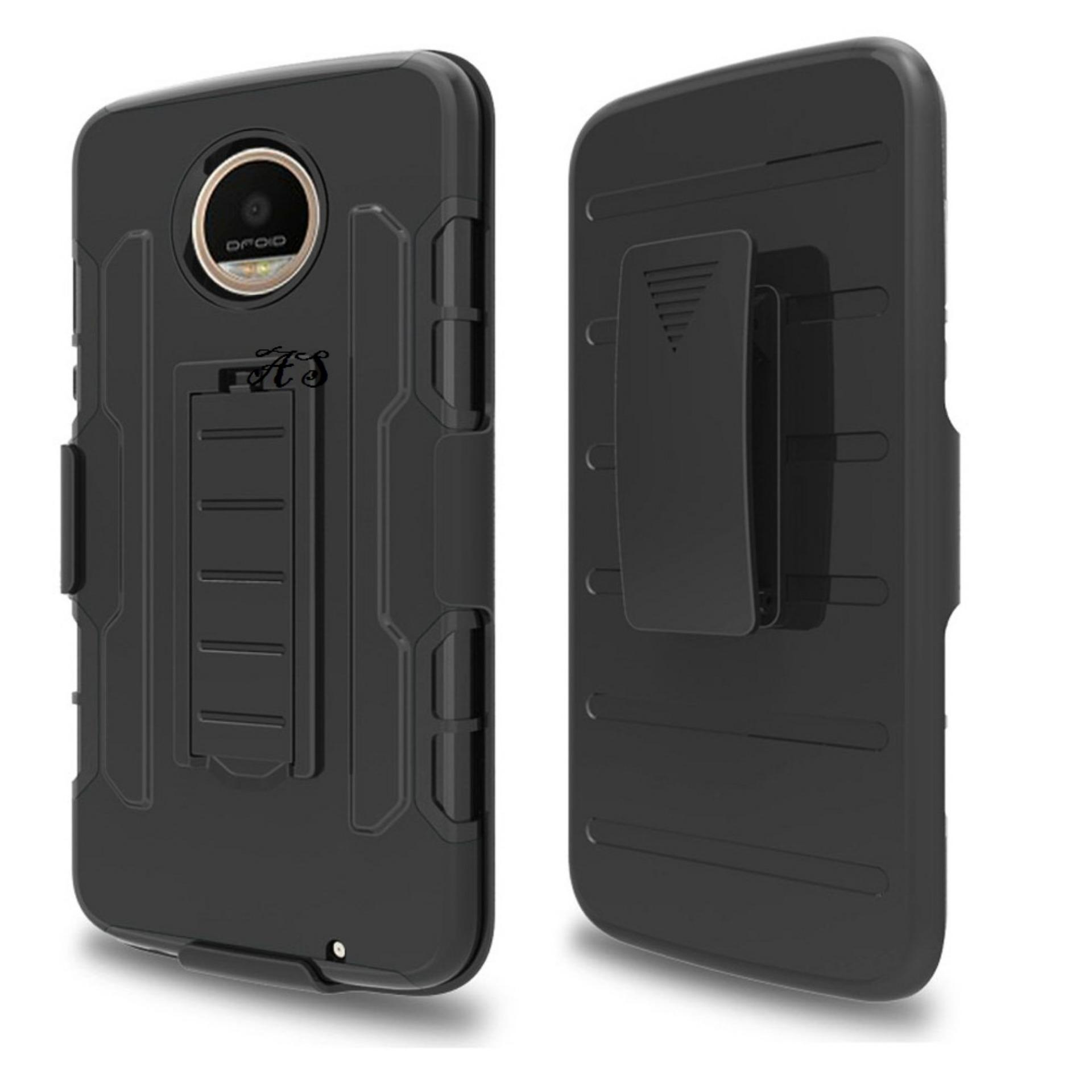 Jual Motorola Moto Z2 Play Case Dual Layer Holster Slide Hybrid Tpu Pc With Belt Clip Black Import