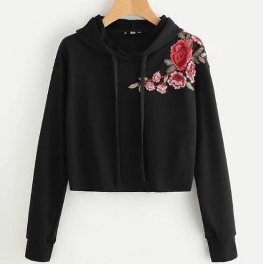 ClaireStore Sweater Wanita Crop Hoodie Rose Flower - Hitam