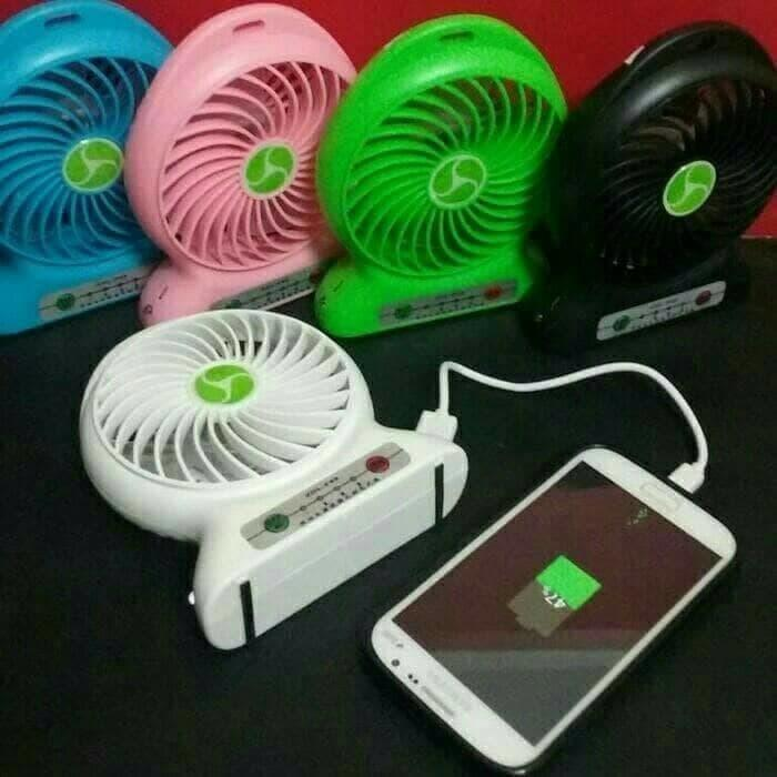 Power Bank Kipas Angin PowerBank Kipas / Kipas Angin Mini Portable / Mini Fan USB Portable - 168Luck