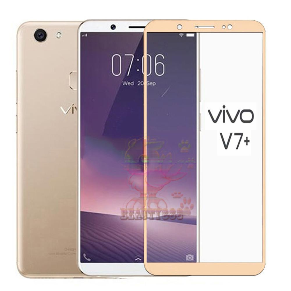 Beauty Tempered Glass Full Screen Gold Vivo V7 Plus 9H Screen Anti Gores Kaca / Screen Guard / Screen Protection / Temper Vivo V7 Plus / Pelindung Layar Kaca Full Vivo V7 Plus / Depan Only / Temper Full Layar Vivo V7+  - Gold / Emas
