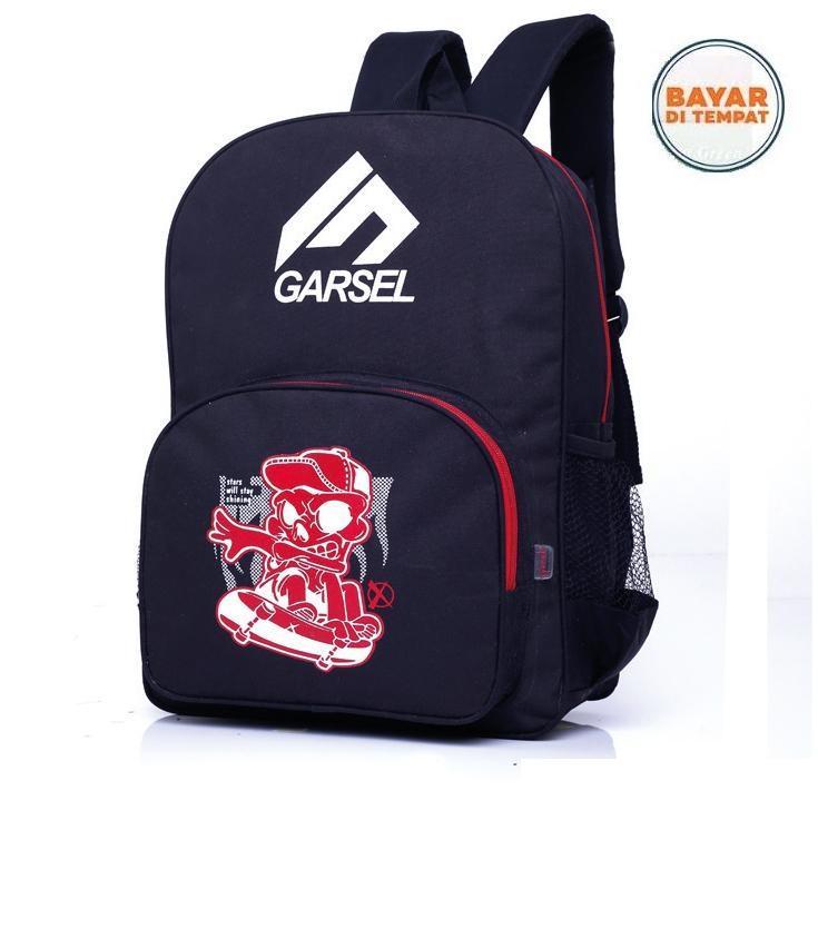 Garsel Tas Ransel Backpack Distro Trendy Sekolah Kuliah Kerja FAL5779 - Hitam