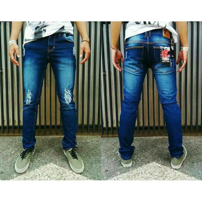 Celana Ripped Jeans Pria Sobek Robek Biru Dongker Keren Murah - Q8kgfb