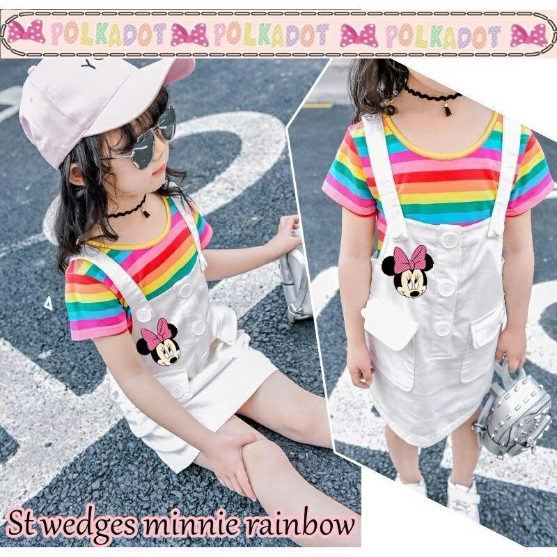 J&C Setelan Wedges Minnie Rainbow / Setelan Anak Perempuan / Setelan Anak Cewek / Kaos Anak / Jumper Anak / Jumpsuit Anak / Overall Anak / Stelan Anak / Baju Anak 1 Stel