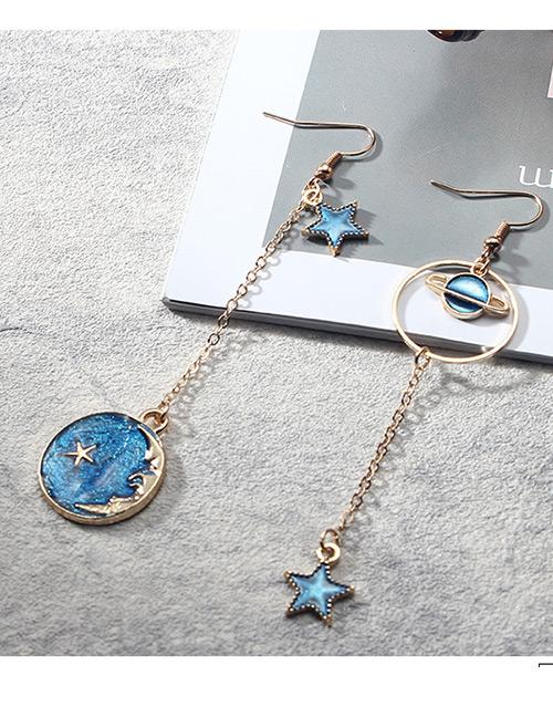 LRC Anting Gantung Fashion Blue Star Shape Pendant Decorated Earrings