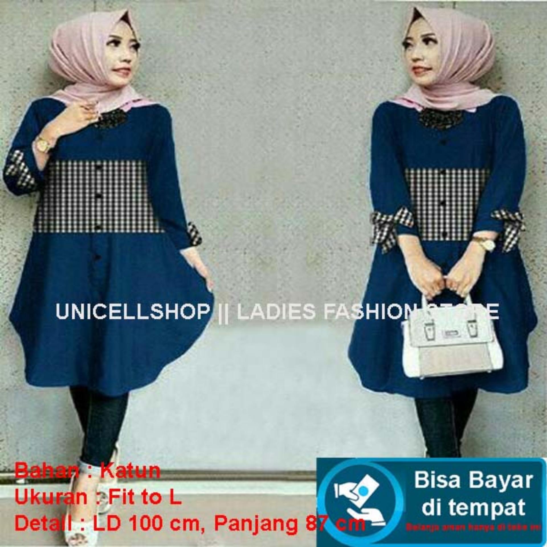Baju Wanita Shop Atasan Kemeja Terusan Wanita Polos Kotak / Kemeja / Long Hem / Dress