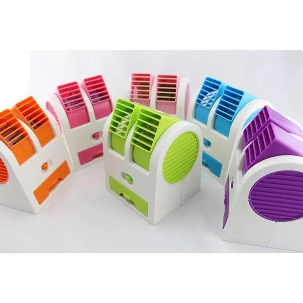 Ac Mini Portable - Neo Ac Duduk Double Mini Fan Portable Blower Kipas Usb-Hijau