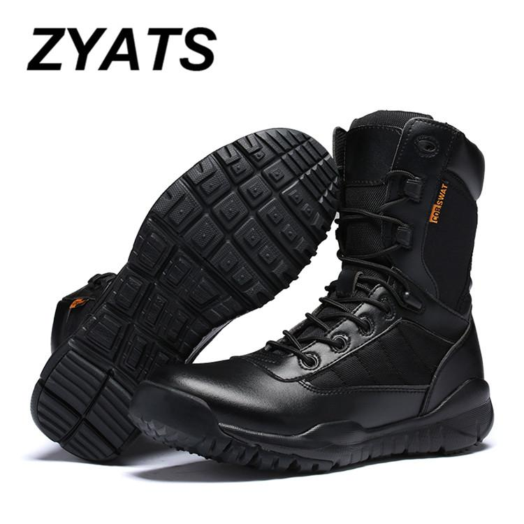 ZYATS New Men New Army Tactical Desert Mens Leather Combat Boots Military Shoes Soldier Black