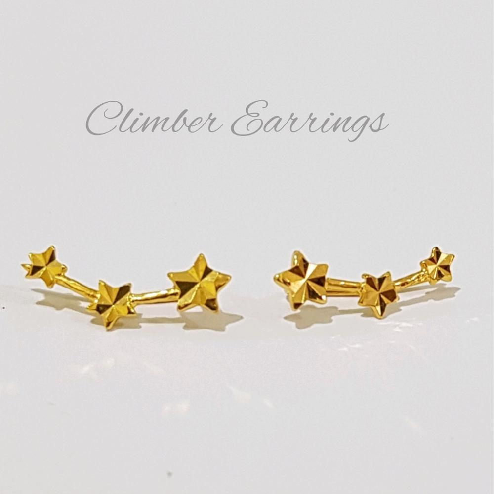 Anting Emas Asli Kadar 700 Star Climber Earrings / Anting Remaja / Anting Dewasa / Gold / Perhiasan Emas