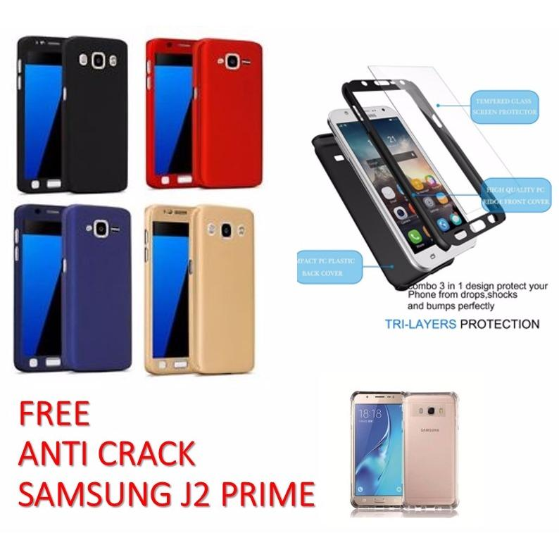 3 IN 1 CASE iPAKY 360 DEGRESS FULL BODY PROTECTION PHONE CASE WITH TEMPERED GLASS FOR SAMSUNG GALAXY J2 PRIME - RANDOM COLOR FREE  ANTI CRACK SAMSUNG J2 PRIME