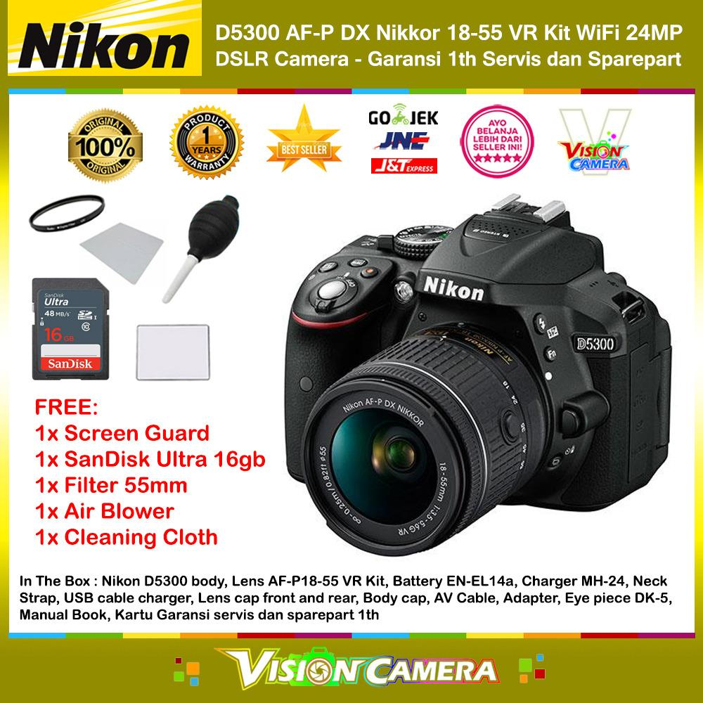 NIKON D5300 AF-P DX Nikkor 18-55 VR Kit 24MP DX-Format DSLR Camera (Garansi 1th) + Screen Guard + SanDisk Ultra 16gb + Filter 55mm + Blower + Cloth