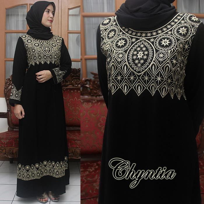 Sale Gamis Abaya Hitam Exclusive - Gamis Pesta Bordir Chintya Style