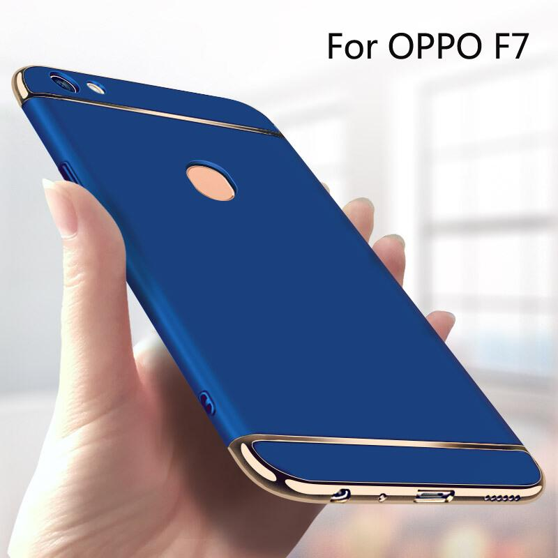 For OPPO F7 3 In 1 Electroplated Matte Hard Phone Case Protective Cover