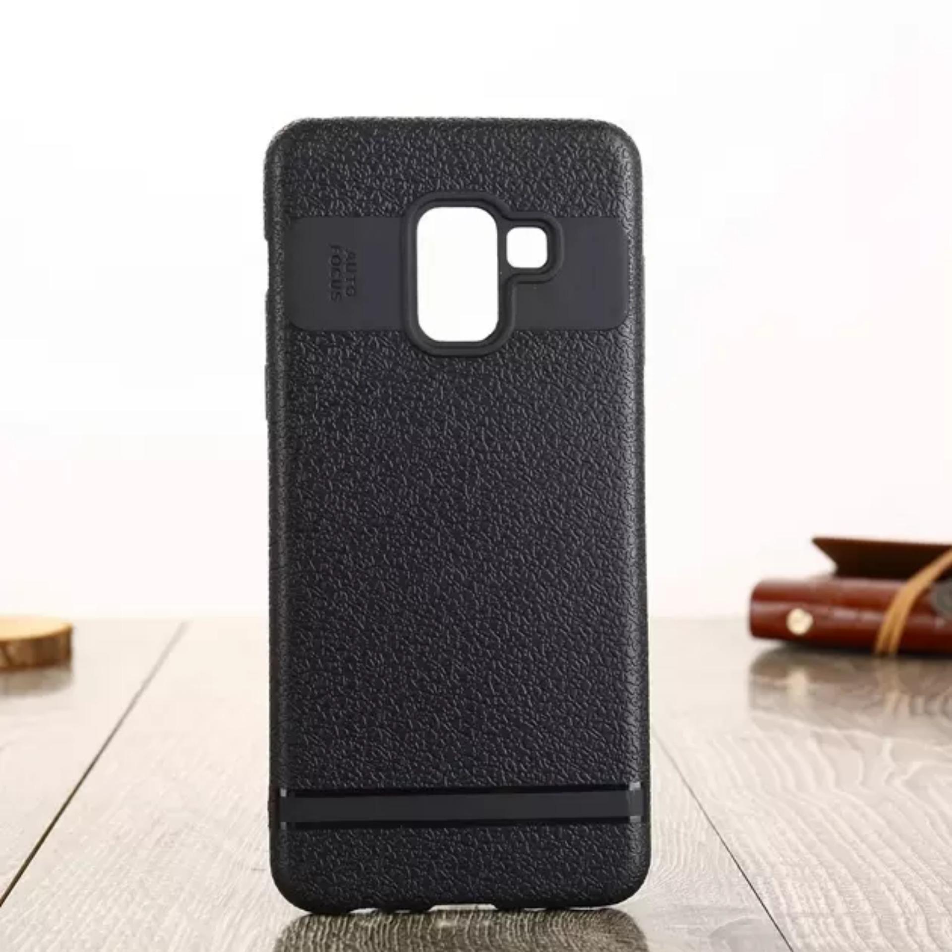 LOLLYPOP Auto Focus Samsung Galaxy J6 2018 Black Hitam TPU Flexible SOFTCASE Leather Premium Back Cover