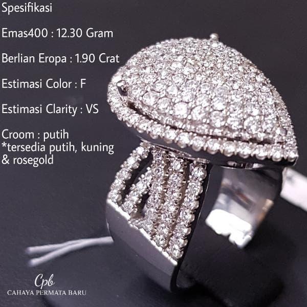 Cincin Emas400 12.30 Gram Berlian Eropa 1.90 Crat Fashion Murah Meriah