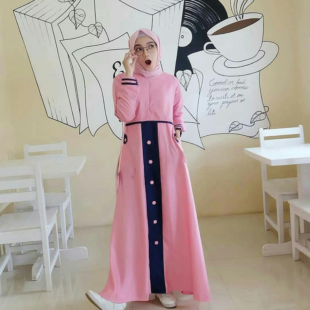 Tia maxi / fashiom dress tia kkinian / gamis remaja muslim 2warna (black) - 2