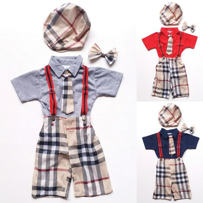 Dijual Baju Setelan Anak Bayi Laki Kaos Kerah Suspender Burberry Dasi Topi Berkualitas