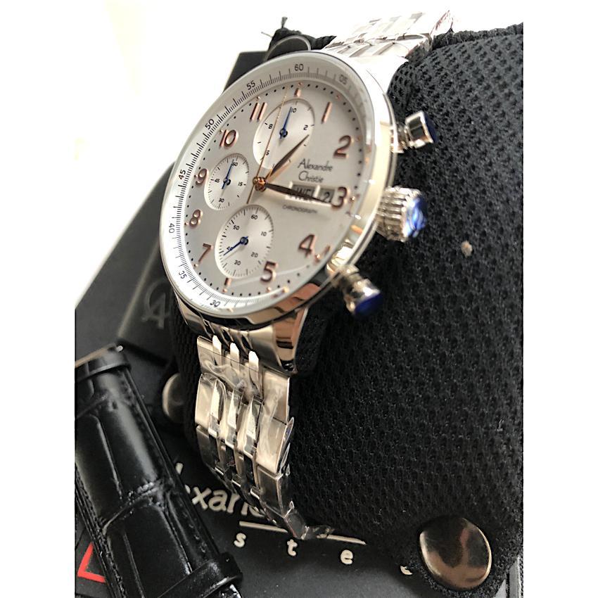 Alexandre Christie G492MC Analog Chronograph Men Watch Jam Tangan Pria Tali Strap Stainless .