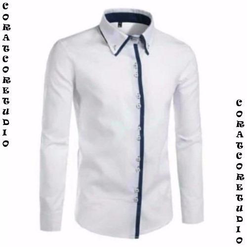CORATCORETUDIO - Kemeja Pria Lengan Panjang Polos Double Kancing Warna Putih Hitam Biru / Kemeja Cowok