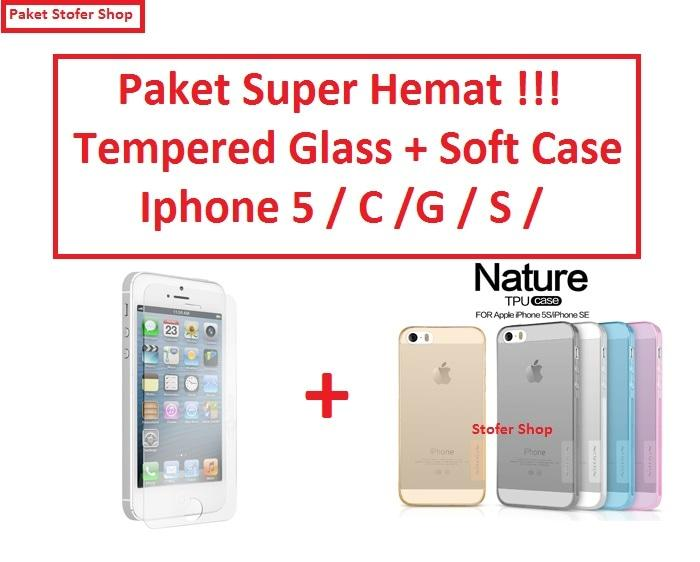 [PAKET] Softcase + Tempered Glass Iphone 5 C / G / S