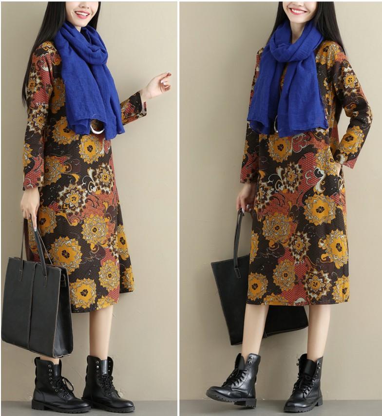 2017 busana musim gugur model baru baju wanita Sastra bersablon kain linen Lengan panjang ukuran besar