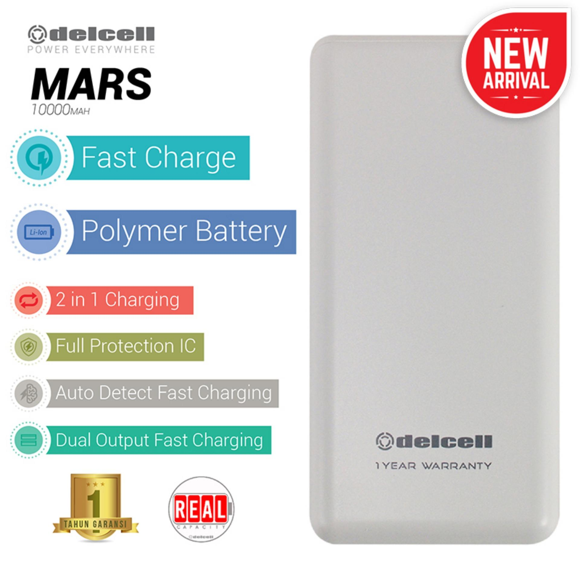 New Arrival Delcell MARS Powerbank 10000mAh Real Capacity Fast Charging Slim Powerbank Polymer Battery - White
