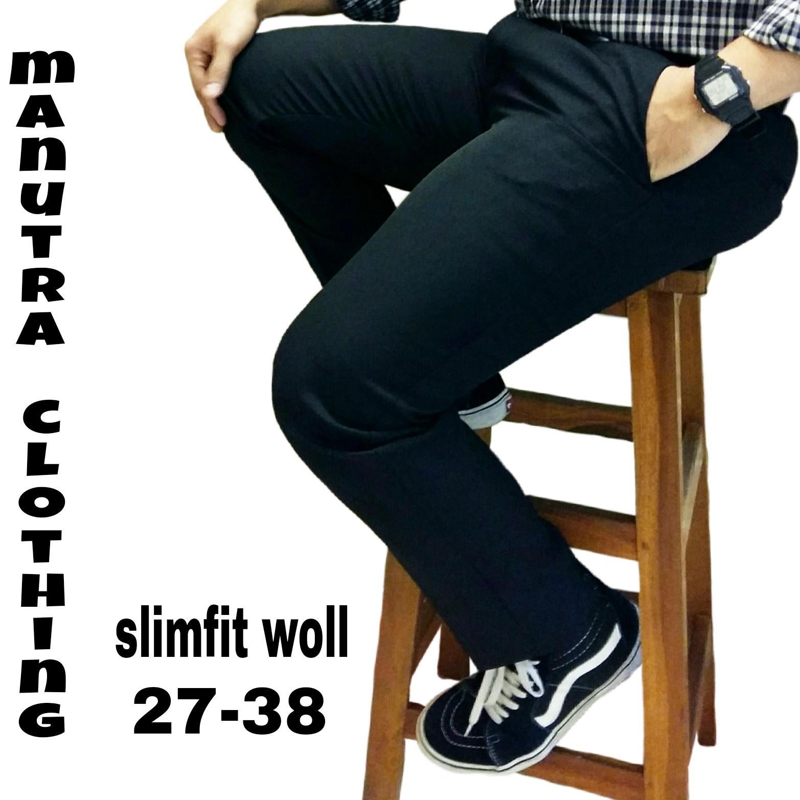 Celana bahan slimfit celana kerja kantor slimfit slimfitwol hitam 27 38