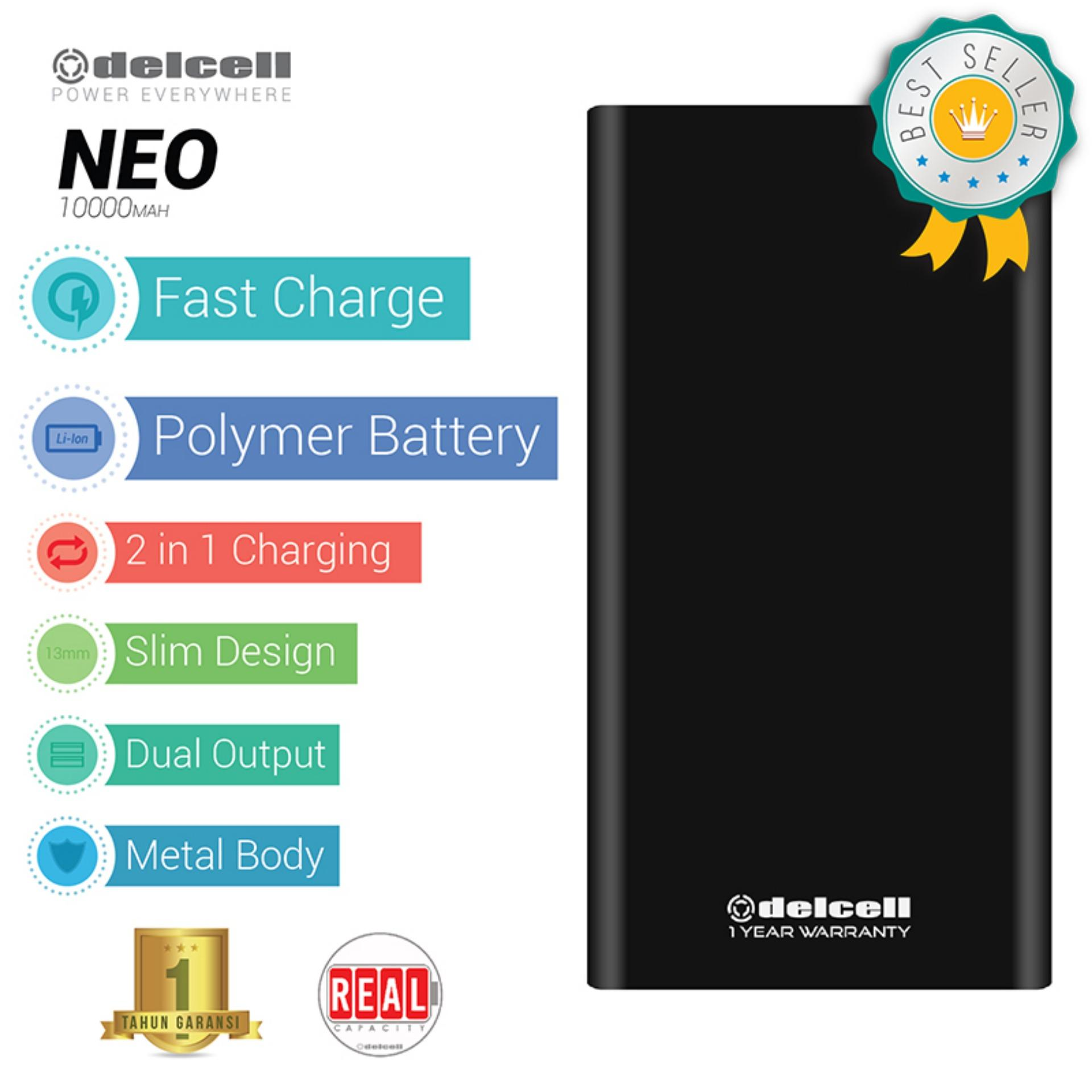 Delcell NEO Powerbank 10000mAh Real Capacity Fast Charging Polymer Battery - Black