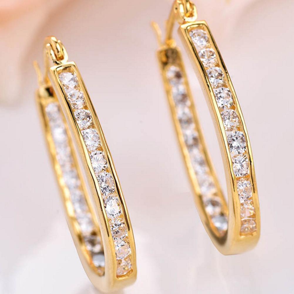 Bluelans(R) Wanita Fashion Titanium Steel berlian imitasi putaran Hoop Drop anting hadiah perhiasan