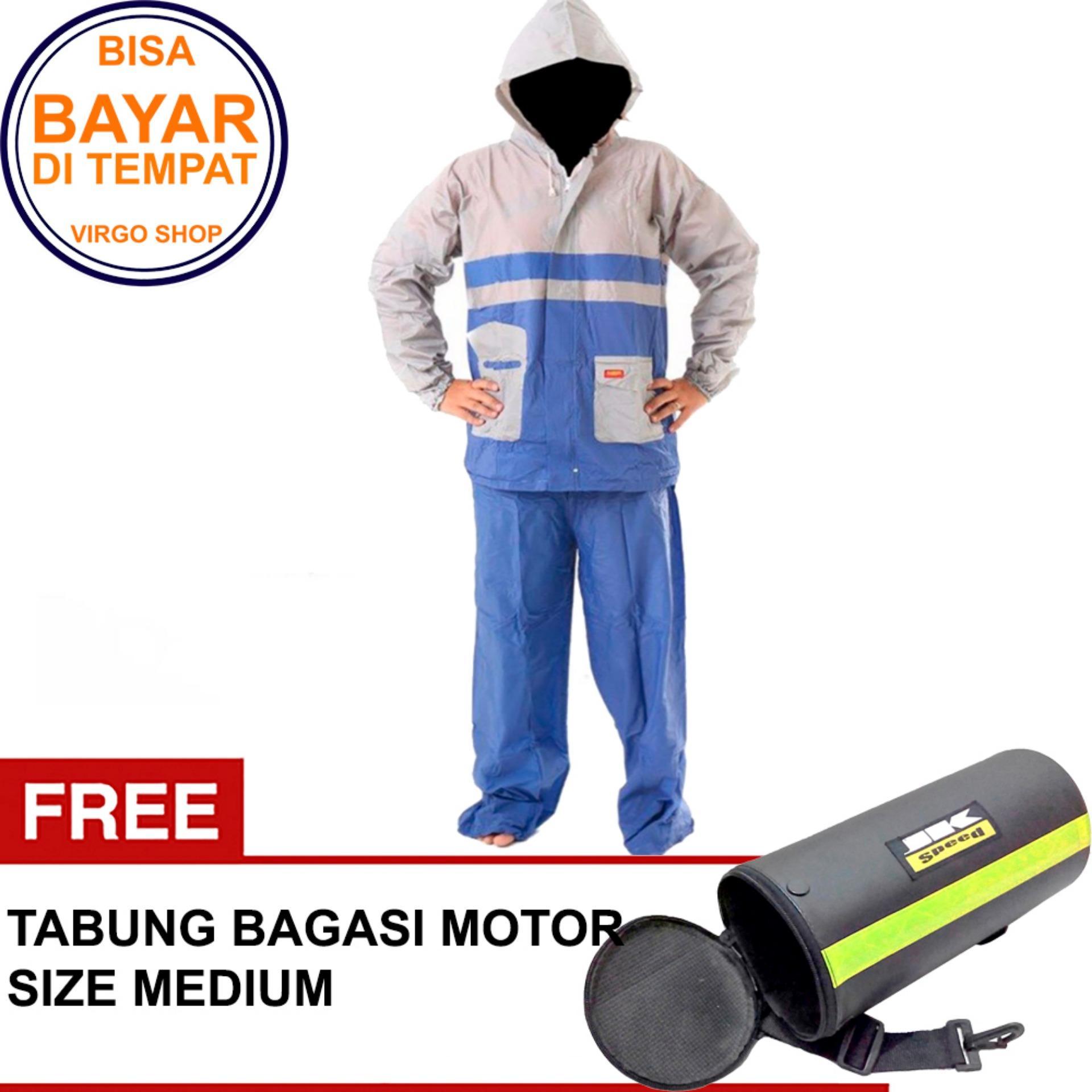 Termurah Elmondo Jas Hujan Setelan Baju Celana - New Kombinasi Tipe 905 Biru Bonus Tabung Bagasi Medium