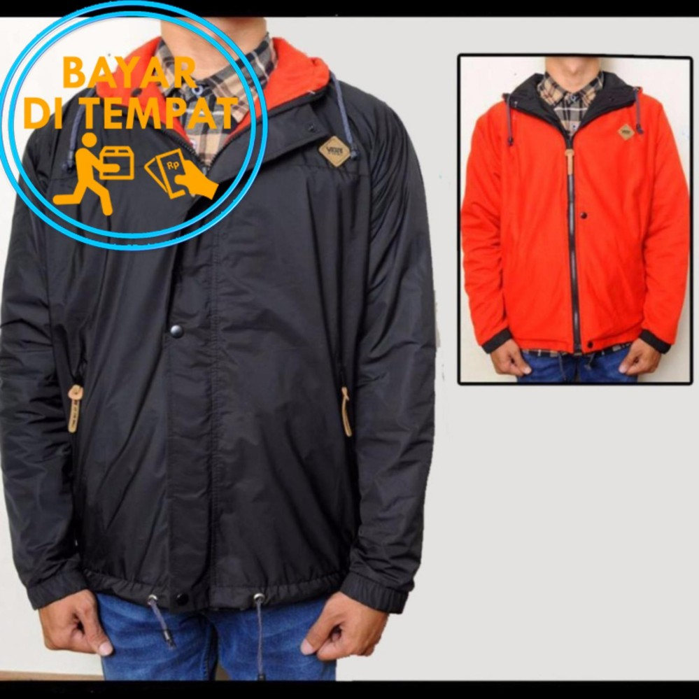 Promo Jaket Murah Parka Bolak Balik Black Red 2In1 Best Seller Murah