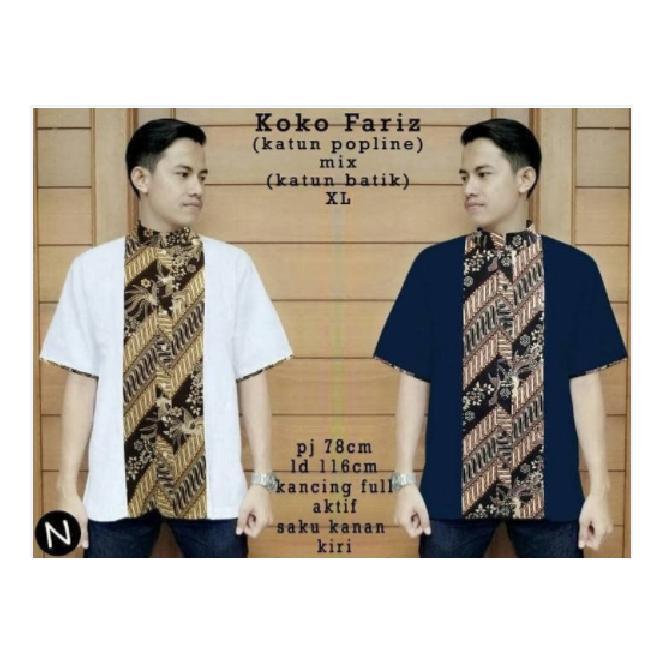 kemeja batik hem shirt pria baju atasan laki koko xxl xl jumbo bigsize