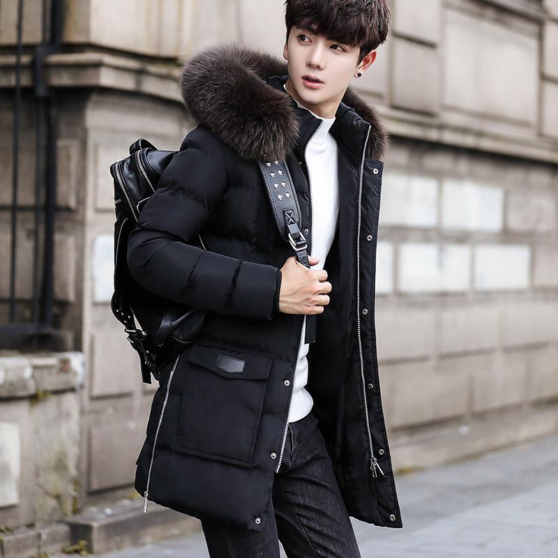 Musim dingin Jaket mantel katun pria musim dingin Lebih tebal model  setengah panjang Gaya Korea membentuk 685611feb9