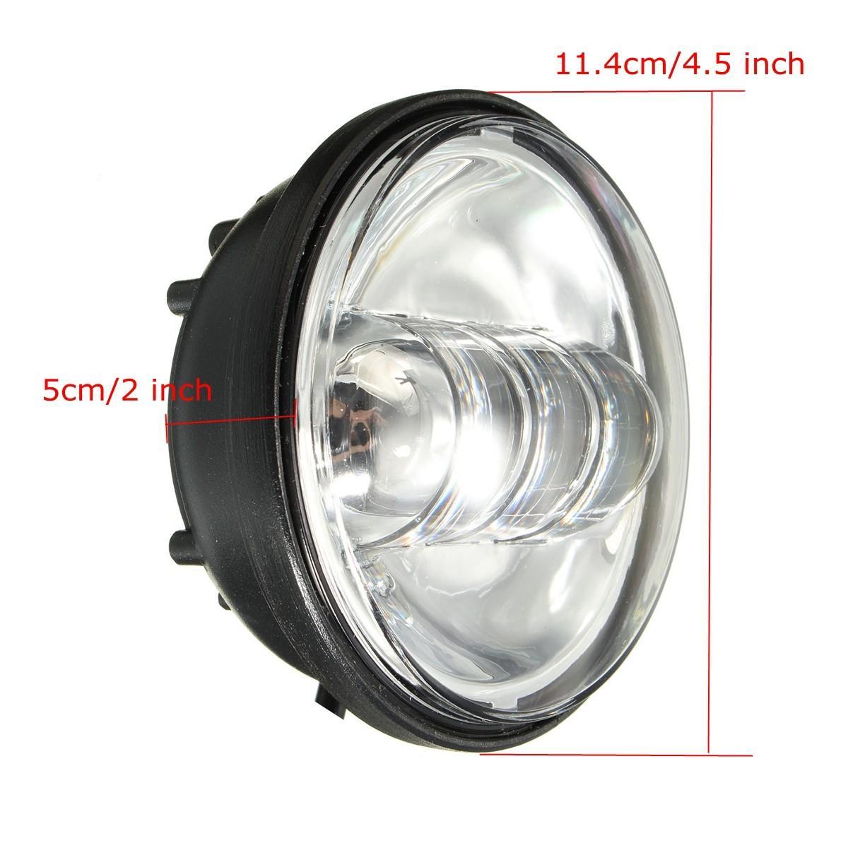 Fitur 2 Pcs 4 5 Inch Chrome Led Auxiliary Fog Melewati Lampu Terang 2pcs Mata T10 Untuk Motor Merah 45 Harley Intl