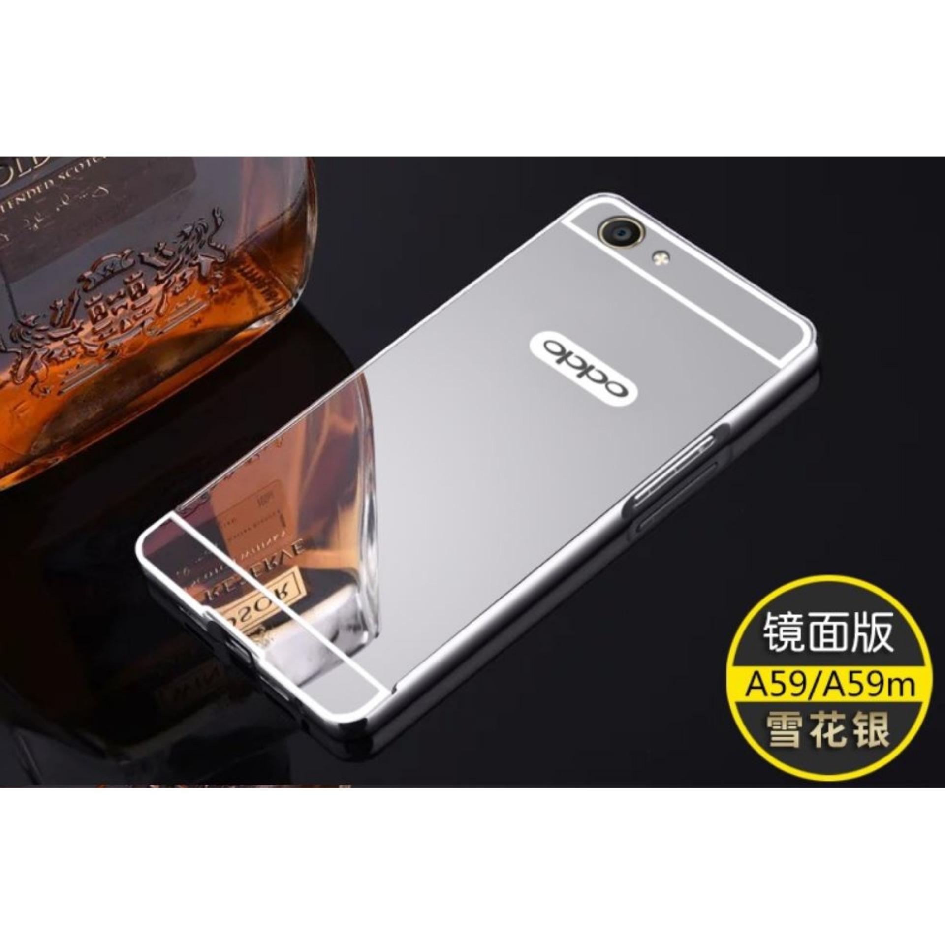 Aldora Case For Oppo F1s   Oppo A59 Metal Bumper Miror Premium Quality -  Silver 96312c378c