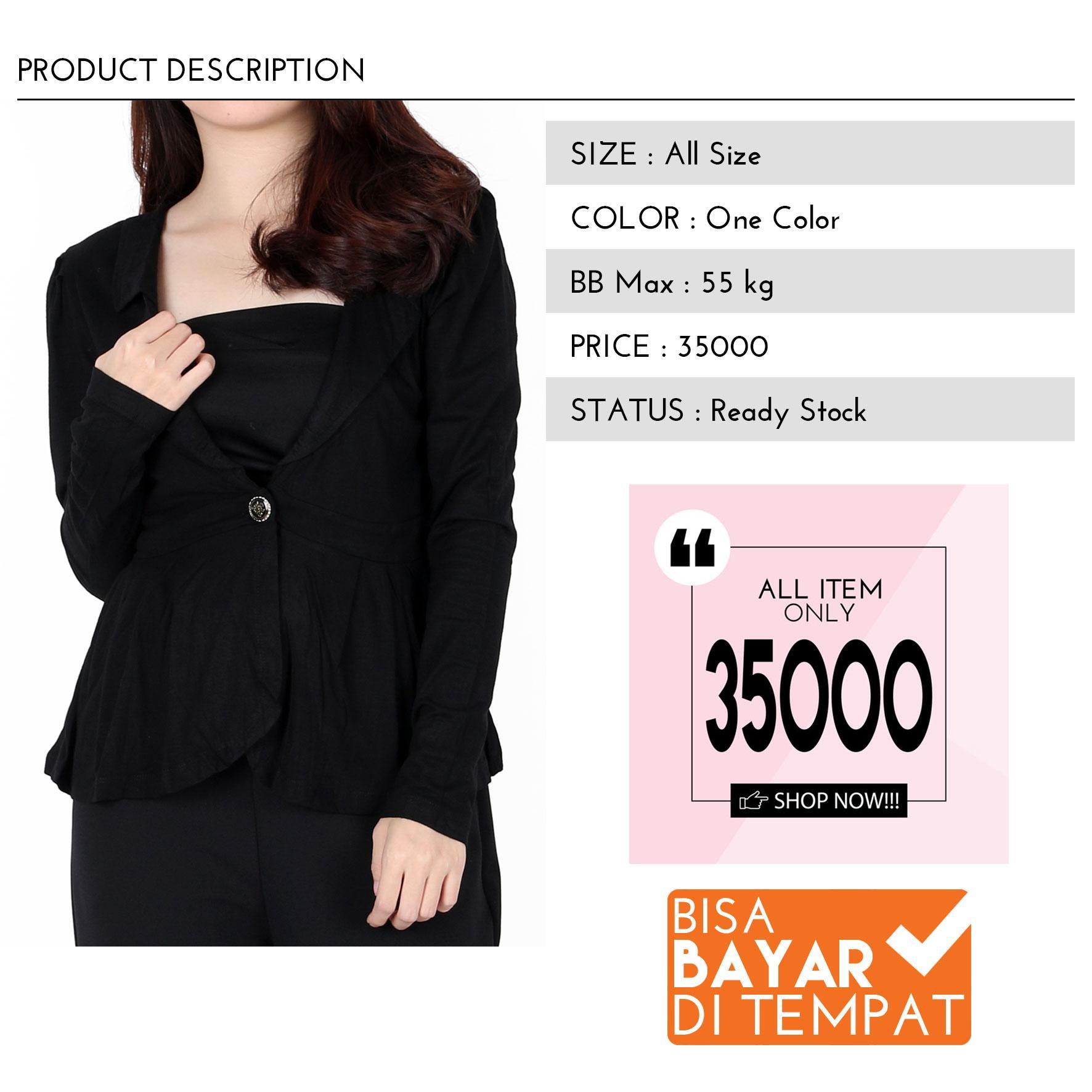 All Item 35K Blazer wanita blazer korea blazer remaja blazer kerja blazer casual-Hitam -