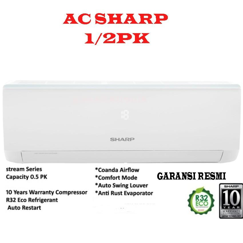 AC SPLIT SHARP AH-A5UCY 1/2PK- putih